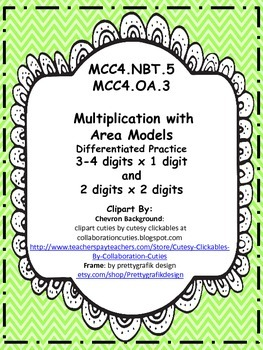 MCC4.NBT.5 & MCC4.OA.3  Multiplying with Area Models