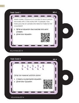 MCC.4.NF.4 - Multiplying Fractions Task Cards (With QR Codes)