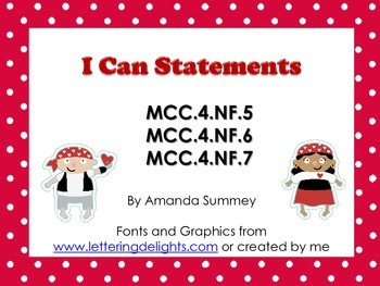 MCC.4.NF5-7 I Can Statements (Relate, Convert, & Compare Fractions and Decimals)