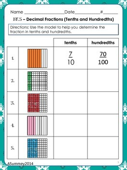 MCC.4.NF5-7 Practice Pages: Relate, Convert, & Compare Decimals & Fractions
