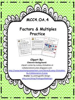 MCC4.OA.4 - Factors & Multiples Practice