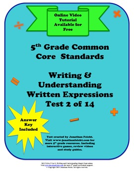 MCC5.OA.2 Understanding and Writing Written Expressions