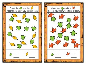 MCCK.MD.3 & MCCK.CC.4-5: Kindergarten Classify and Count Fall Leaves Task Cards