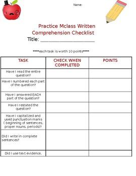 MCLASS PRACTICE CHECKLIST