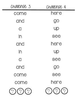 MCLASS word list practice booklets