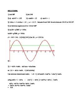 MCR3U - Quiz on D1 : Applying and Determining Trigonometric Ratios