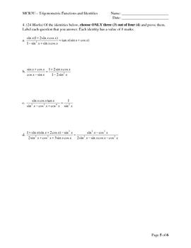 MCR3U - Trigonometric Functions and Identities Test