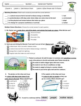MCSB –Harcourt 3rd Grade Louisiana S. Studies: Ch. 3 Lesson 3 Study Guide/Test