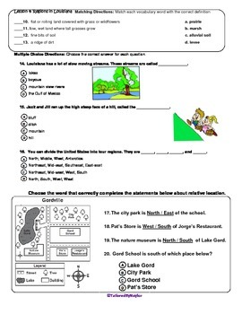 MCSB –Harcourt 3rd Grade Louisiana S. Studies: Ch. 4 Lesson3&4 Study Guide/Test