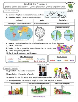 MCSB –Harcourt 3rd Grade Louisiana S. Studies: Ch. 2 Lesson1&2 Study Guide/Test
