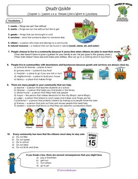MCSB – Harcourt 3rd Grade Social Studies: Ch. 1 - Lesson 1&2 Study Guide & Test