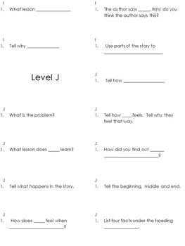 MClass Reading 3-D TRC Question Stem Printable Labels Levels F-U