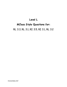MClass Style Questions for Leveled L, M, N, O Books