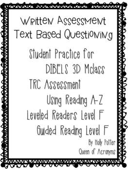 MClass TRC Written Response Practice Using Reading A-Z Level F