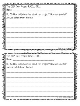 MClass TRC Written Response Practice Using Reading A-Z Level I