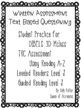 MClass TRC Written Response Practice Using Reading A-Z Level J