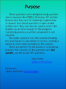 MClass TRC Written Response Practice Using Reading A-Z Level K