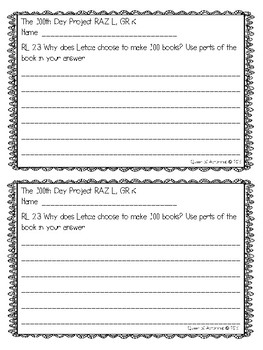 MClass TRC Written Response Practice Using Reading A-Z Level L
