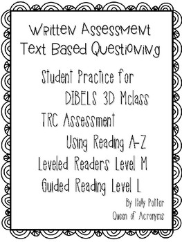 MClass TRC Written Response Practice Using Reading A-Z Level M