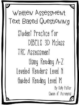 MClass TRC Written Response Practice Using Reading A-Z Level N