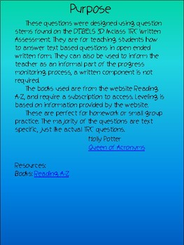 MClass TRC Written Response Practice Using Reading A-Z Level P