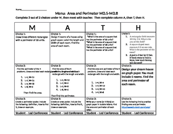 MD.5, MD.6, MD.7, MD.8 Area and Perimeter Choice Board