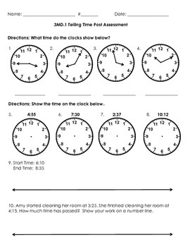 3MD.1 Telling Time Post Assessment