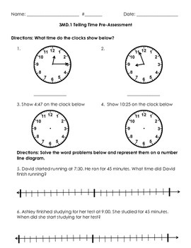 3MD.1 Telling Time Pre Assessment