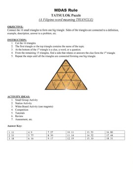 MDAS Rule Game Puzzle with Worksheet