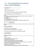MDM4U - Comparing Experimental and Theoretical Probaiblity