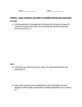 MDM4U Probability Distributions Assignment