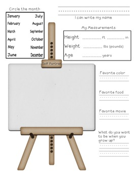 ME, Monthly! Monthly Worksheet to measure height, weight, age and more!