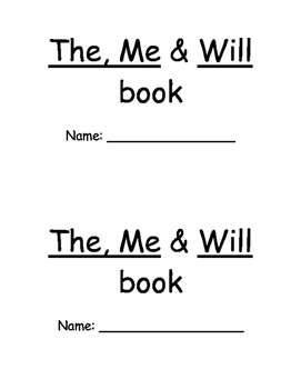 ME/THE/WILL Sight Word Practice Book