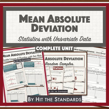 MEAN ABSOLUTE DEVIATION Unit 2 BUNDLE Statistics w Univariate Data 30%OFF