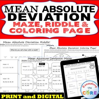 MEAN ABSOLUTE DEVIATION Mazes, Riddles & Coloring Pages (Fun Activities)
