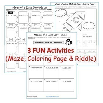 MEAN, MEDIAN, MODE, & RANGE  Bundle - Task Cards Graphic Organizers, Puzzles