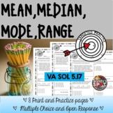 MEAN MEDIAN MODE RANGE GRADE 5 VIRGINIA SOL 5.17