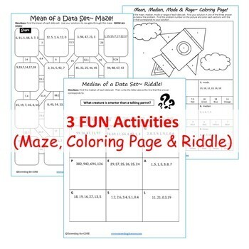 MEAN, MEDIAN, MODE, & RANGE Mazes, Riddles & Color by Number (Fun Activities)