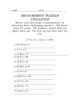 MEASUREMENT PUZZLER CHALLENGE