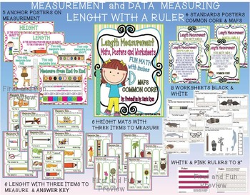 MEASURING LENGTH & HEIGHT MAT N WORKSHEETS & POSTERS COMMON CORE MAFS ENVISION