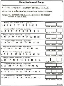 Median, Mode, and Range Practice (20 printable worksheets)
