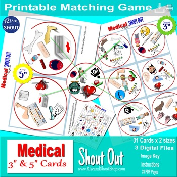 """MEDICAL TERMS SHOUT OUT; Spot the Match game, 3"""" & 5"""" circle, square cards"""