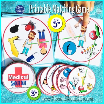 "MEDICAL TERMS SHOUT OUT; Spot the Match game, 3"" & 5"" circle, square cards"
