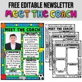 MEET THE COACH ★ EDITABLE NEWSLETTER ★ BACK TO SCHOOL ACTIVITIES