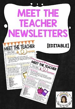 MEET THE TEACHER EDITABLE NEWSLETTER
