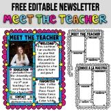 MEET THE TEACHER ★ EDITABLE NEWSLETTER ★ BACK TO SCHOOL AC