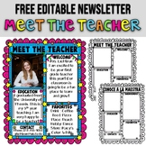 MEET THE TEACHER ★ EDITABLE NEWSLETTER ★ BACK TO SCHOOL AC