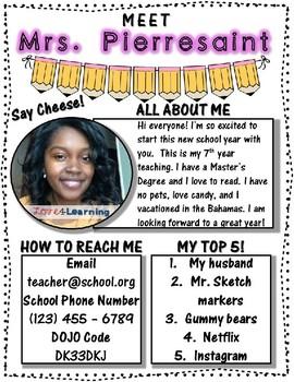 MEET THE TEACHER TEMPLATES (EDITABLE)