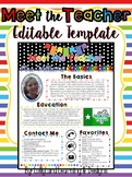 MEET THE TEACHER- Editable Handout