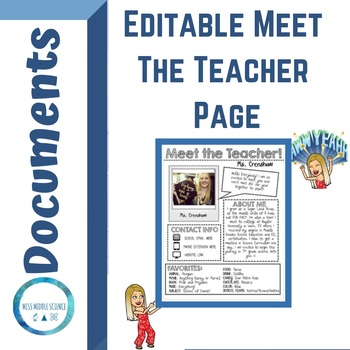 MEET THE TEACHER Letter (EDITABLE)